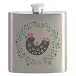 Folk Art Christmas Bird Flask