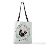 Folk Art Christmas Bird Polyester Tote Bag