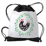 Folk Art Christmas Bird Drawstring Bag