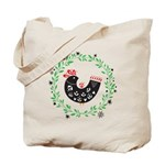 Folk Art Christmas Bird Tote Bag