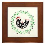 Folk Art Christmas Bird Framed Tile