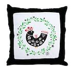 Folk Art Christmas Bird Throw Pillow