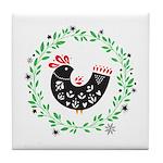 Folk Art Christmas Bird Tile Coaster
