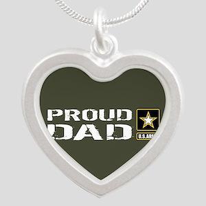 U.S. Army: Proud Dad (Milita Silver Heart Necklace