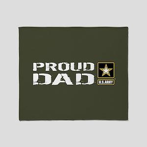 U.S. Army: Proud Dad (Military Green Throw Blanket