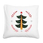 Folk Art Christmas Tree Square Canvas Pillow