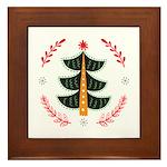 Folk Art Christmas Tree Framed Tile