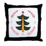 Folk Art Christmas Tree Throw Pillow