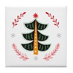 Folk Art Christmas Tree Tile Coaster