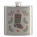 Folk Art Christmas Stocking Flask