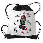 Folk Art Christmas Stocking Drawstring Bag