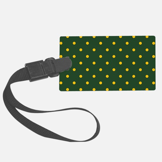 Polka Dot Pattern: Yellow & Gree Luggage Tag
