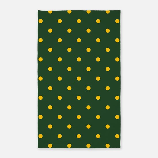 Polka Dot Pattern: Yellow & Green Area Rug