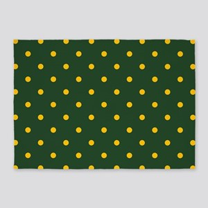 Polka Dot Pattern: Yellow & Green 5'x7'Area Rug