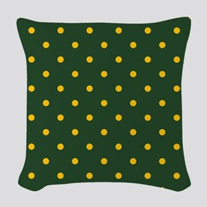 Polka Dot Pattern: Yellow & Gr Woven Throw Pillow
