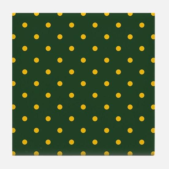 Polka Dot Pattern: Yellow & Green Tile Coaster