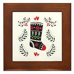 Folk Art Christmas Stocking Framed Tile