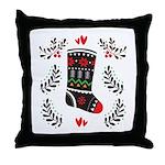 Folk Art Christmas Stocking Throw Pillow
