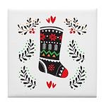 Folk Art Christmas Stocking Tile Coaster