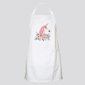 Pink Unicorn with Colorful Flower Coll Light Apron