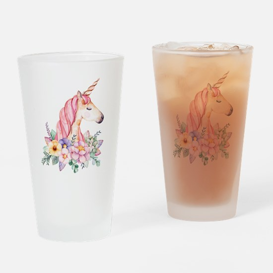 Pink Unicorn with Colorful Flower C Drinking Glass