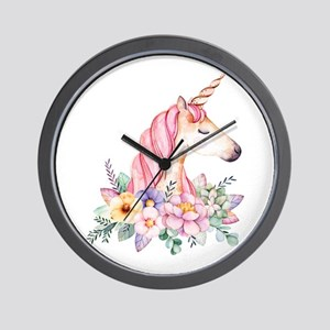 Pink Unicorn with Colorful Flower Colla Wall Clock