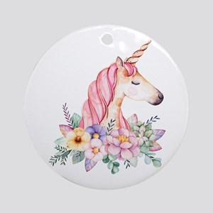 Pink Unicorn with Colorful Flower C Round Ornament