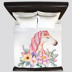 Pink Unicorn with Colorful Flower Colla King Duvet