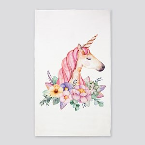 Pink Unicorn with Colorful Flower Collar Area Rug