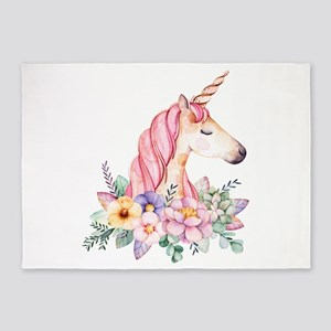 Pink Unicorn with Colorful Flower C 5'x7'Area Rug