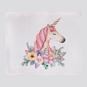 Pink Unicorn with Colorful Flower Co Throw Blanket