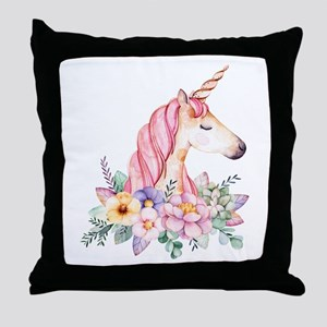 Pink Unicorn with Colorful Flower Col Throw Pillow