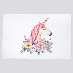 Pink Unicorn with Colorful Flower Coll 4' x 6' Rug