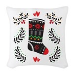 Folk Art Christmas Stocking Woven Throw Pillow