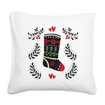 Folk Art Christmas Stocking Square Canvas Pillow