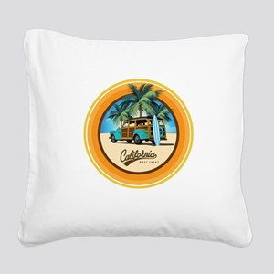 Woodie Gone Surfing Square Canvas Pillow