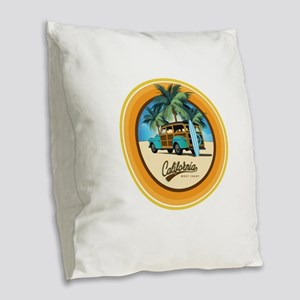 Woodie Gone Surfing Burlap Throw Pillow