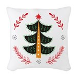 Folk Art Christmas Tree Woven Throw Pillow
