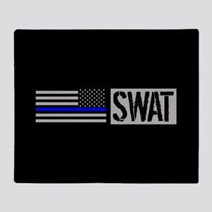Police: SWAT (Black Flag Blue Line) Throw Blanket