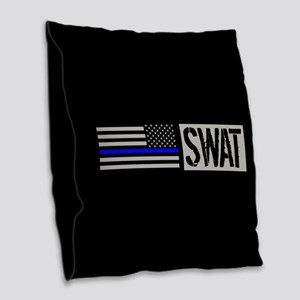 Police: SWAT (Black Flag Blue Burlap Throw Pillow