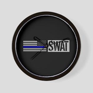 Police: SWAT (Black Flag Blue Line) Wall Clock