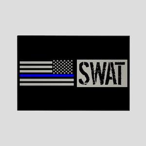 Police: SWAT (Black Flag Blue Lin Rectangle Magnet