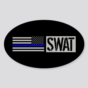 Police: SWAT (Black Flag Blue Line) Sticker (Oval)