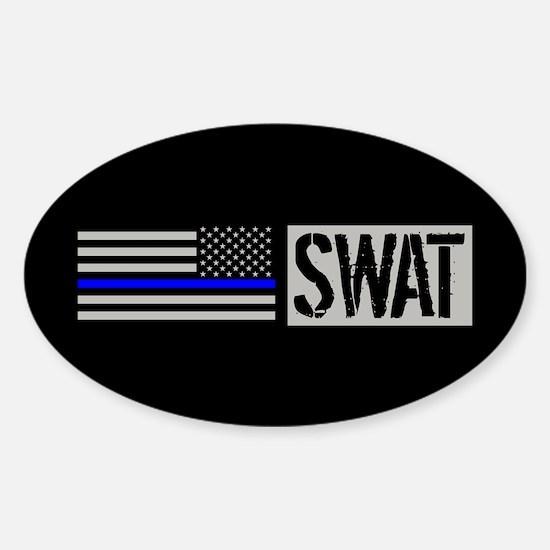 Police: SWAT (Black Flag Blue Line) Sticker (Oval)