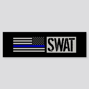 Police: SWAT (Black Flag Blue Lin Sticker (Bumper)
