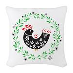 Folk Art Christmas Bird Woven Throw Pillow