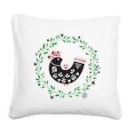 Folk Art Christmas Bird Square Canvas Pillow