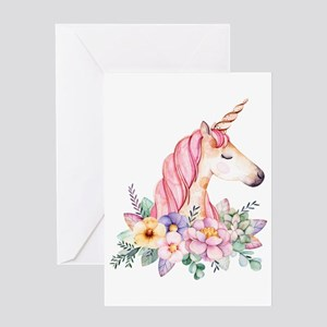 Pink Unicorn with Colorful Flower C Greeting Cards