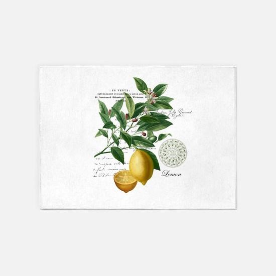 Modern Vintage Lemons 5'x7'Area Rug