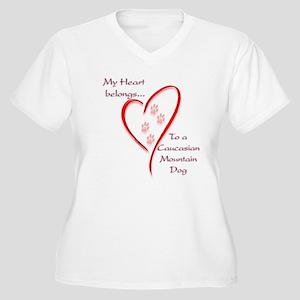 Caucasian Heart Belongs Women's Plus Size V-Neck T